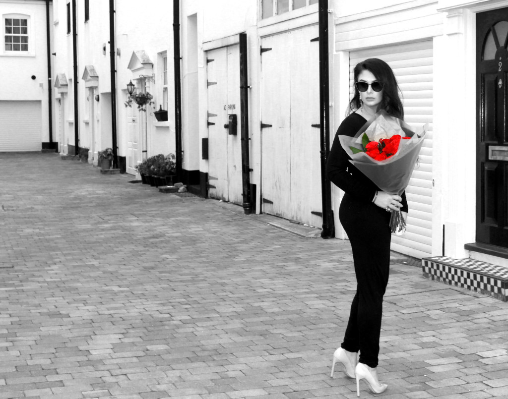 val day look bw red roses