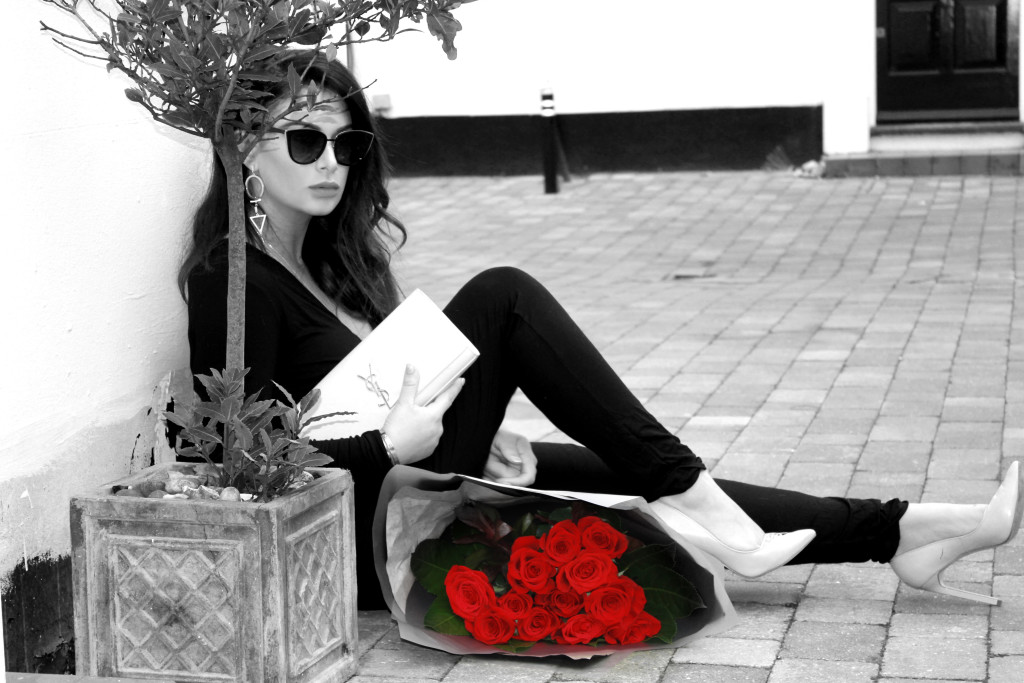 val day look sitting BW red