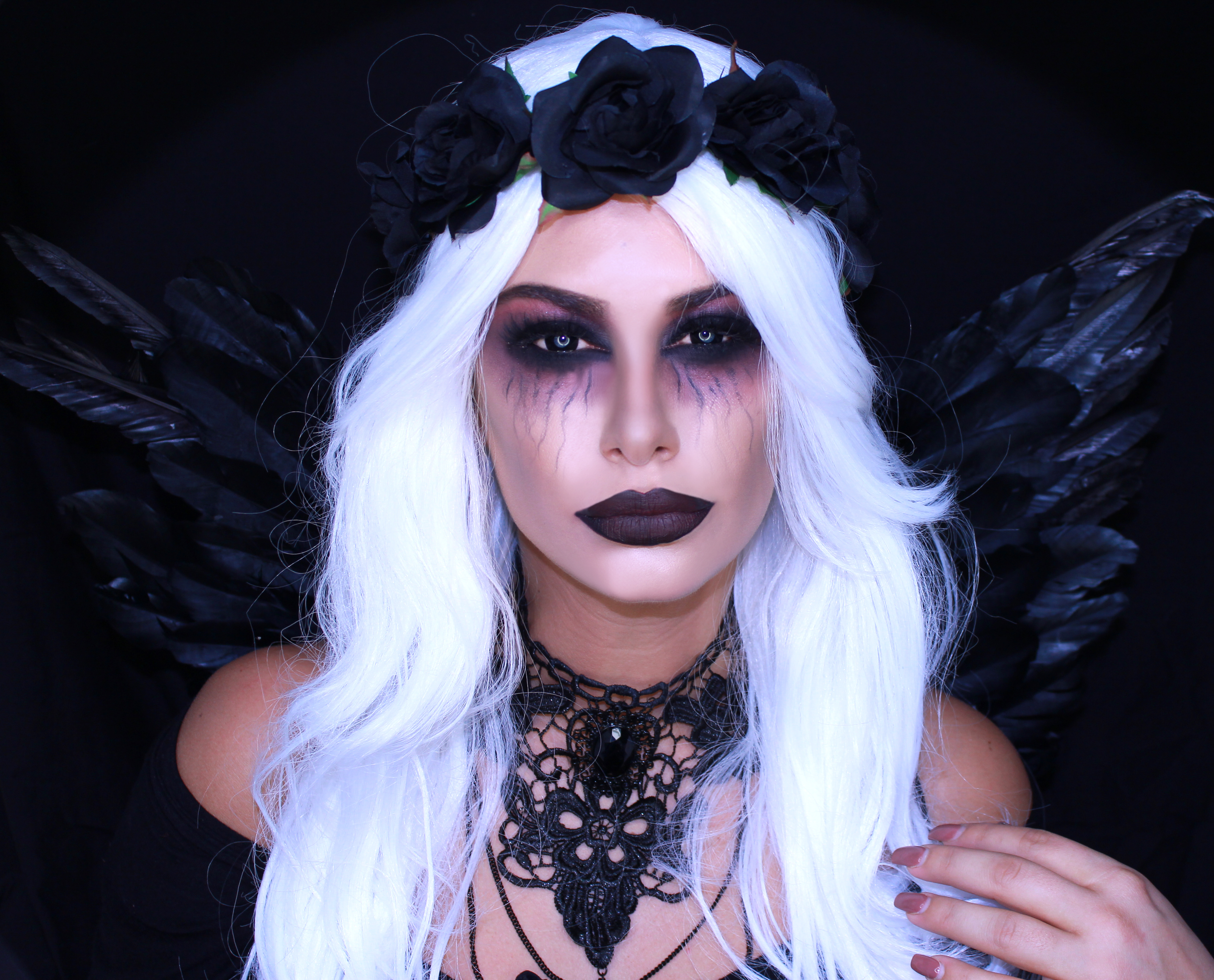 fallen dark angel makeup halloween tutorial tashietinks